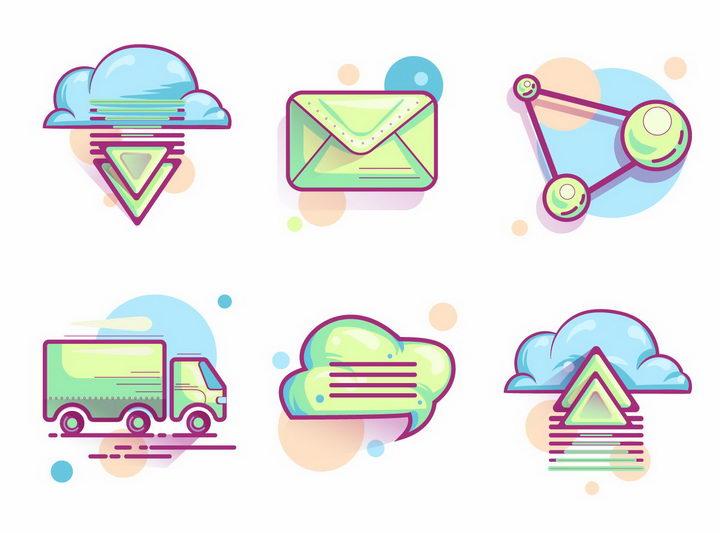 6款卡通风格文件上传下载邮件的发送等云计算服务png图片免抠eps矢量素材 IT科技-第1张