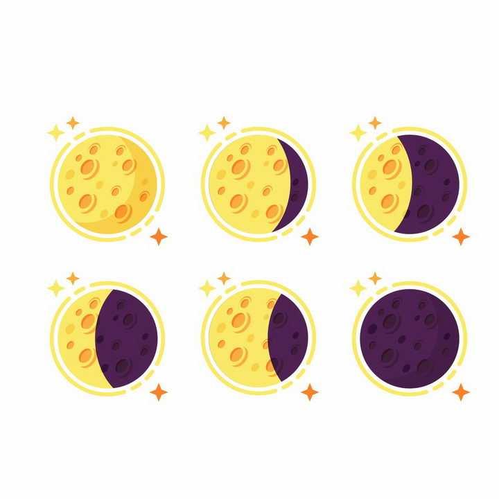 水彩画风格黄色紫色月亮月相变化png图片免抠矢量素材