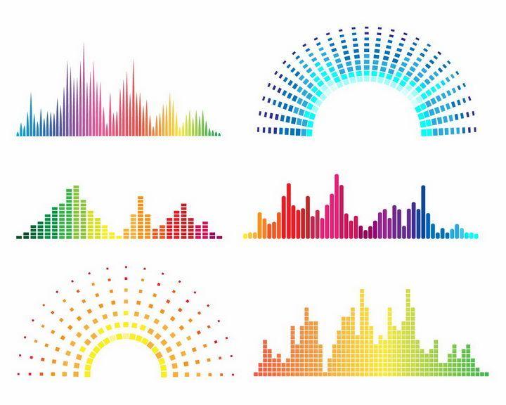 6款彩色音乐均衡器音律声波图案png图片免抠eps矢量素材 装饰素材-第1张