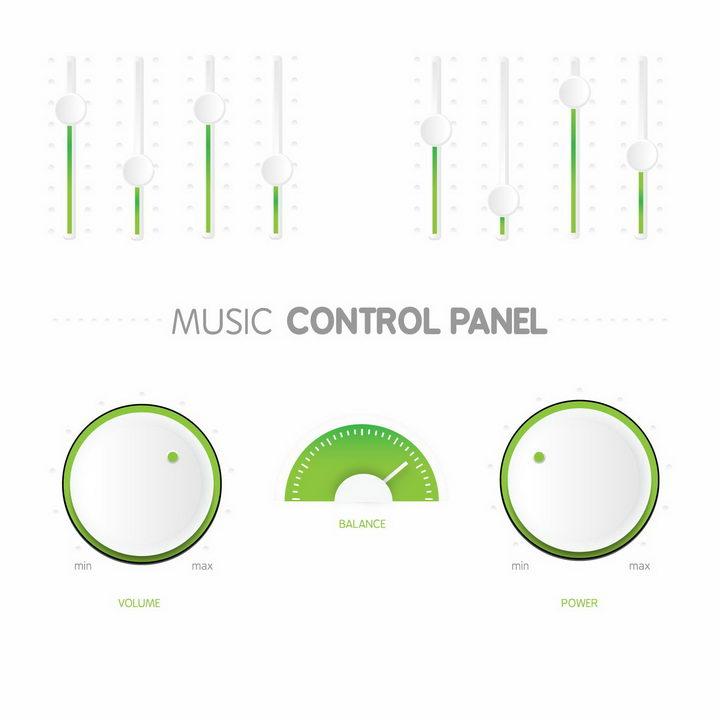 唯美绿色音乐播放器上的调节旋转按钮png图片免抠矢量素材 按钮元素-第1张