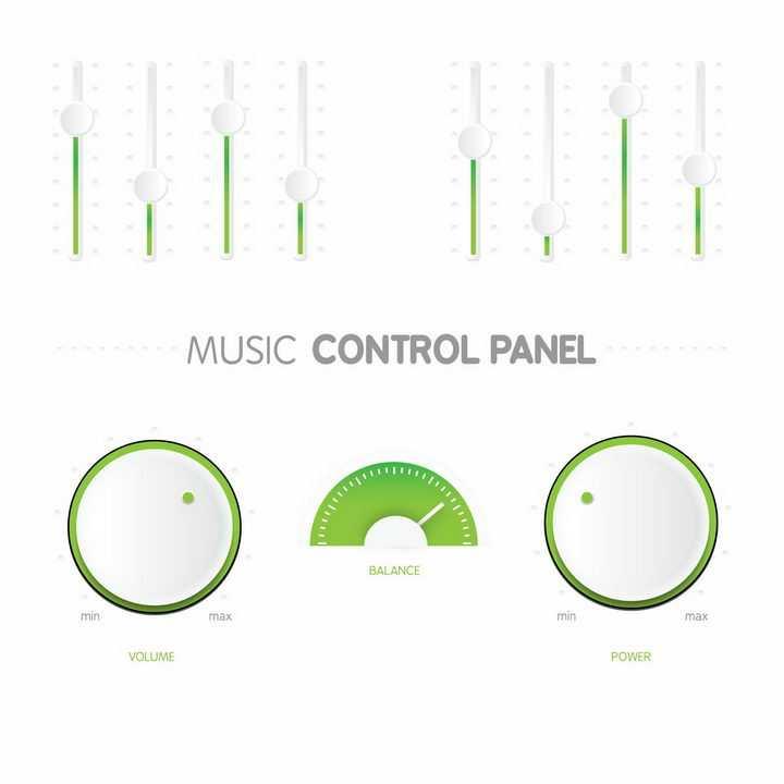唯美绿色音乐播放器上的调节旋转按钮png图片免抠矢量素材