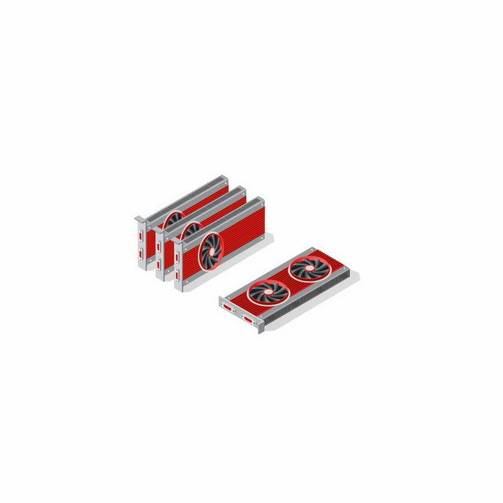并排放在一起的红色电脑显卡配件png图片免抠矢量素材 IT科技-第1张