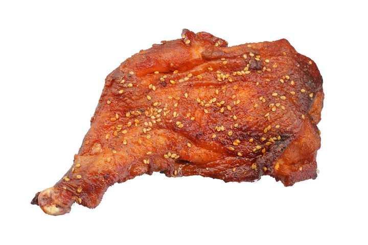撒了点芝麻的美味烤鸡腿png图片免抠素材