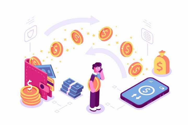 2.5D风格钱包和手机上的金钱流动象征了网络金融png图片免抠矢量素材