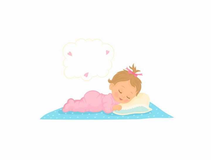 撅着屁股趴着睡觉的卡通小宝宝正在做梦png图片免抠素材