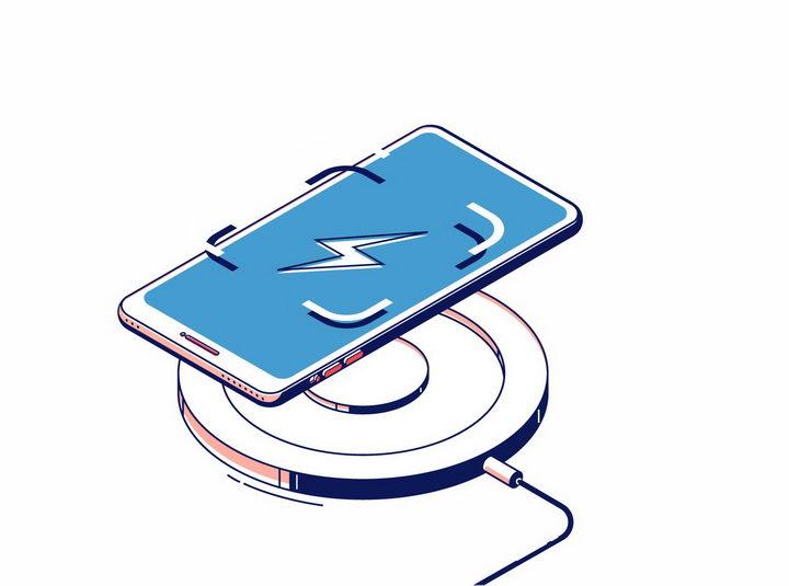 扁平插画风格手机无线充电器功能展示png图片免抠eps矢量素材 IT科技-第1张