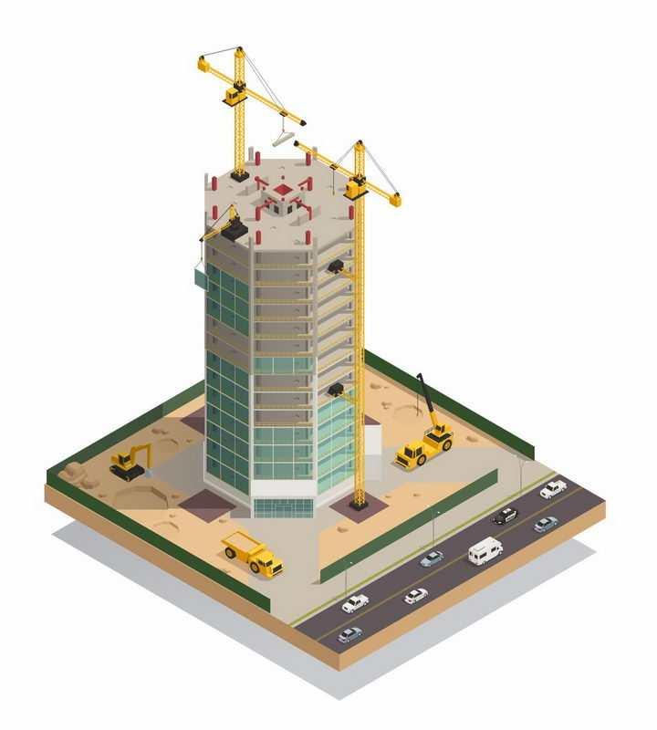 3D正在建设的摩天大楼黄色塔吊建筑工地png图片免抠矢量素材