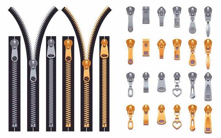 各种逼真的金属链牙拉链头拉锁图案和拉链png图片免抠矢量素材