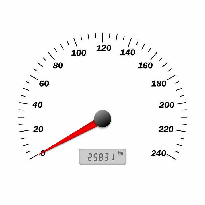 简约的汽车仪表盘之速度表刻度和指针png图片免抠矢量素材 交通运输-第1张