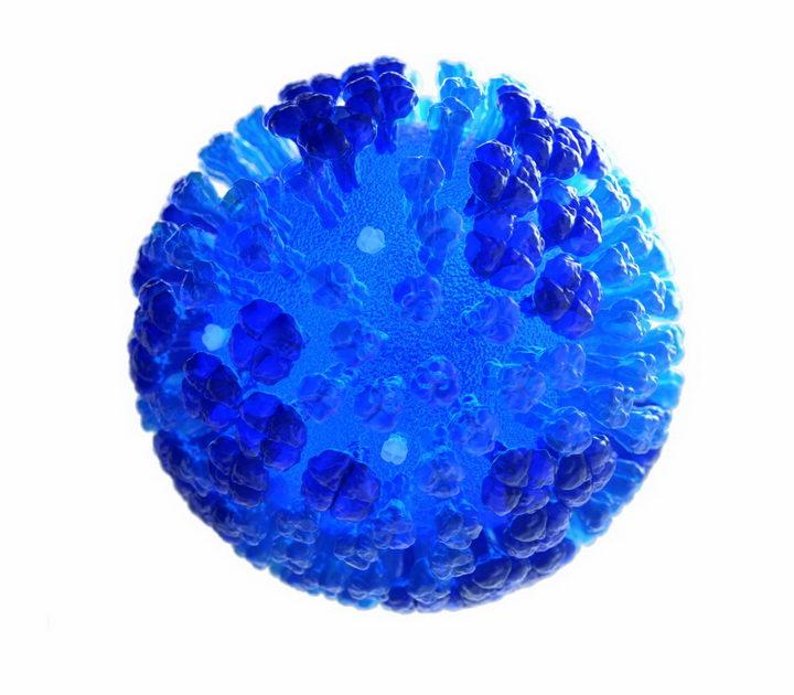 蓝色的流感病毒3D图像png图片免抠素材 健康医疗-第1张