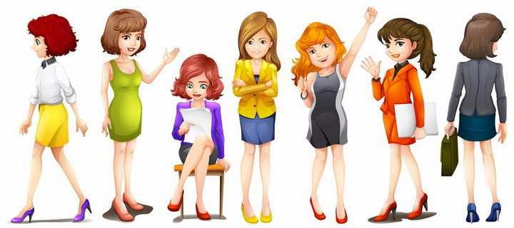 各种卡通女孩职场女性png图片免抠矢量素材