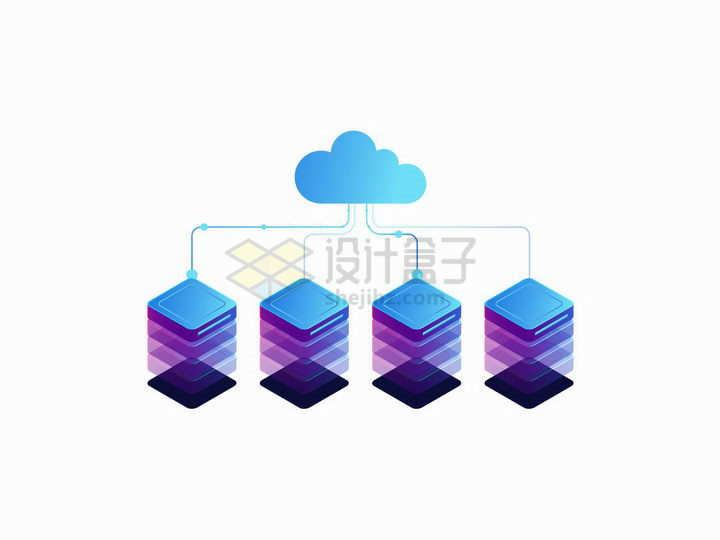 2.5D风格云计算技术图标和服务器矩阵png图片免抠矢量素材