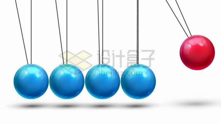 红蓝色牛顿摆物理桌面玩具摆设png图片免抠矢量素材