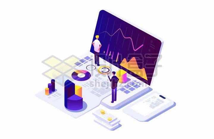 2.5D风格商务人士站在笔记本电脑上查看统计数据png图片免抠矢量素材