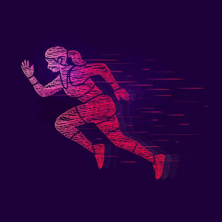 炫酷抽象红色线条奔跑中的女人png图片免抠矢量素材