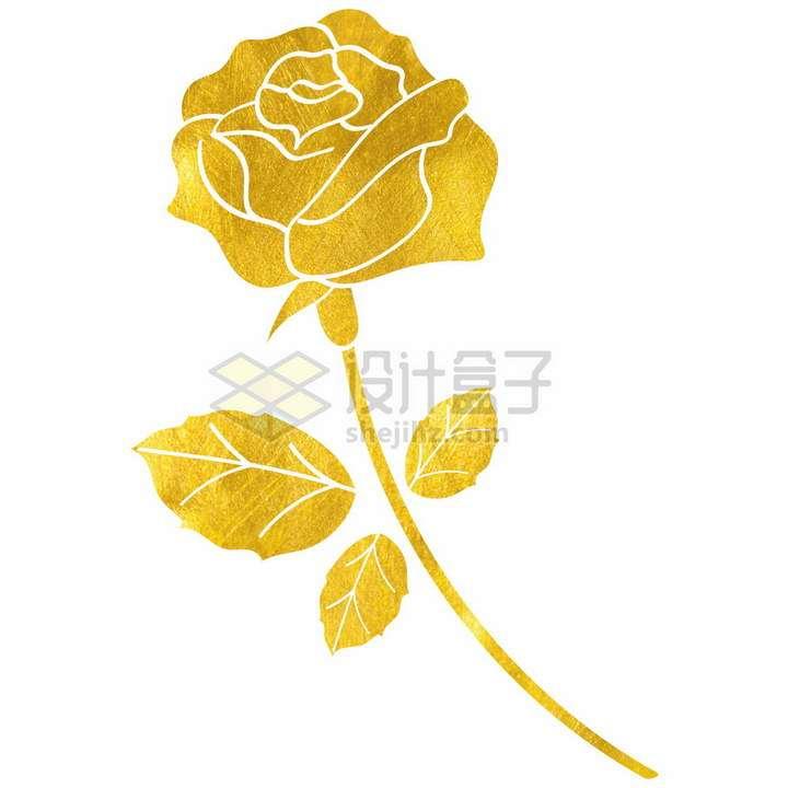 黄金纹理剪纸风格金叶子玫瑰花png图片免抠矢量素材