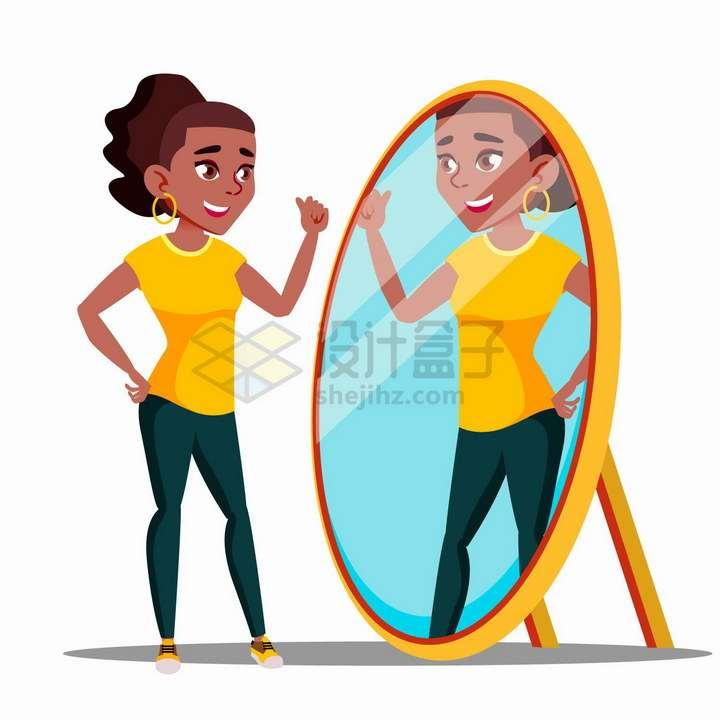 卡通女孩正在照镜子png图片免抠矢量素材
