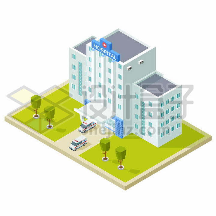 2.5D风格医院大楼和救护车png图片免抠矢量素材