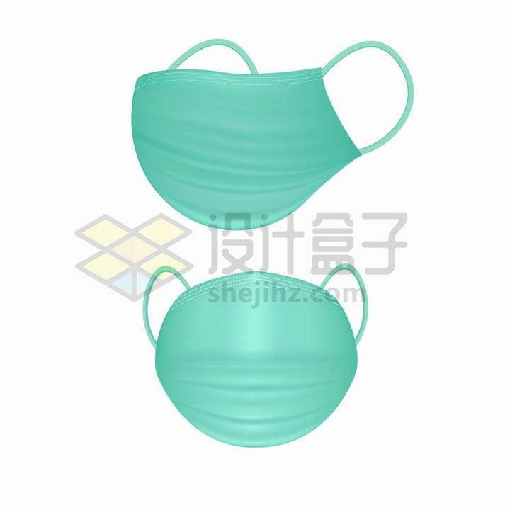 绿色一次性医用口罩的侧面和正面png图片免抠矢量素材