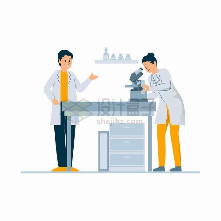 两个正在研究病毒疫苗的医护人员扁平插画png图片免抠矢量素材