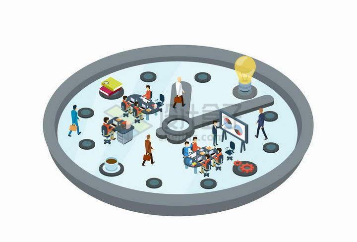 2.5D风格钟表上的办公室象征了工作的时间png图片免抠矢量素材