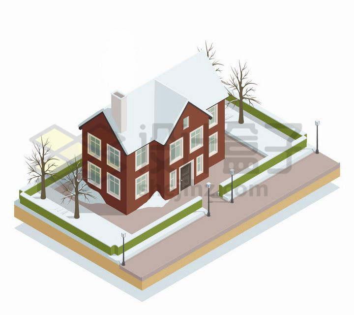 2.5D风格积雪覆盖的院子和别墅png图片免抠矢量素材