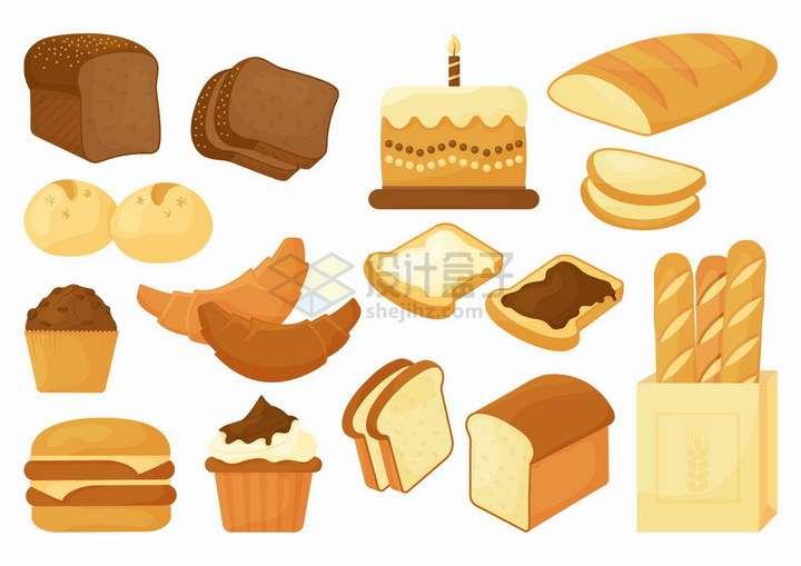 各种面包蛋糕汉堡法棍等西餐美食插图png图片免抠矢量素材
