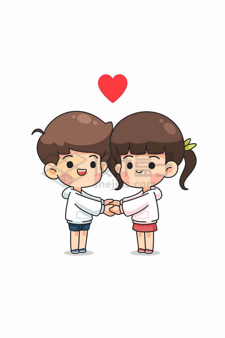 超可爱卡通男孩女孩手牵手象征了情人节表白爱情png图片免抠矢量素材