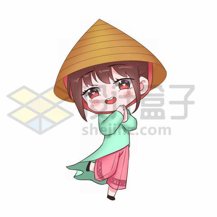 Q版卡通京族少女传统服饰少数民族png图片免抠素材