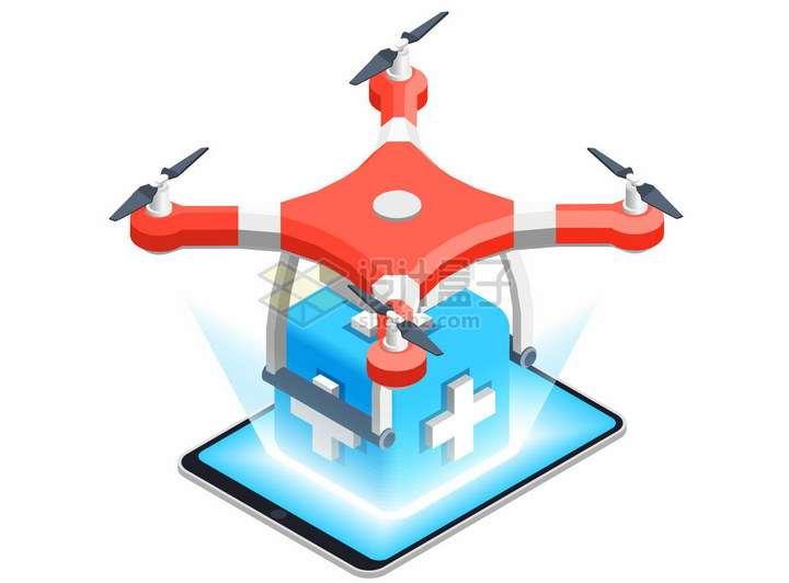 2.5D风格红色无人机送药png图片免抠矢量素材