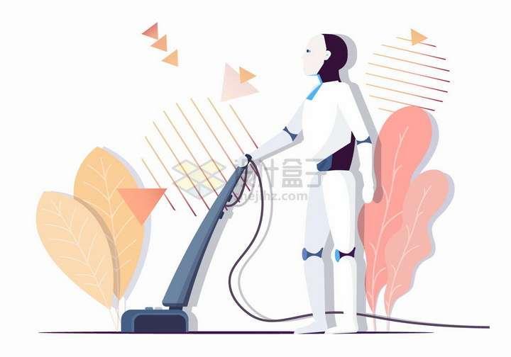 机器人用吸尘器打扫卫生未来科幻扁平插画png图片免抠矢量素材