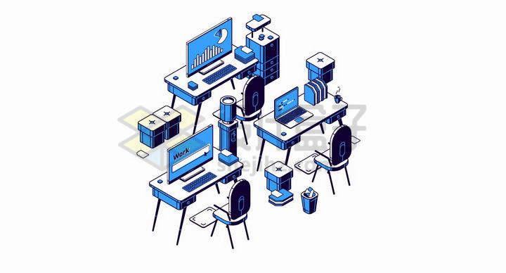 蓝色2.5D风格办公室电脑桌png图片免抠矢量素材