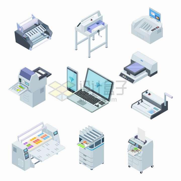 2.5D风格笔记本电脑手机连接的各种打印机png图片免抠矢量素材
