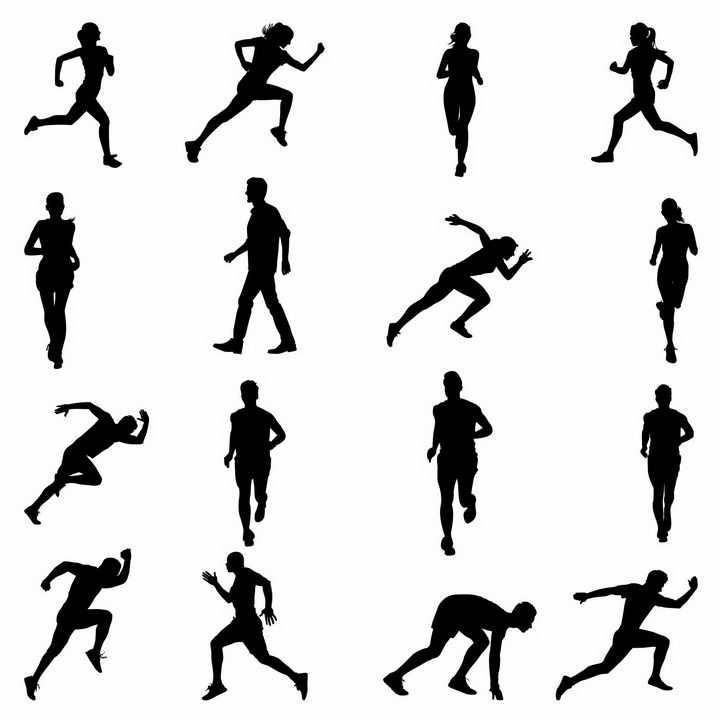 16款散步跑步跳跃等田径运动员剪影png图片免抠矢量素材