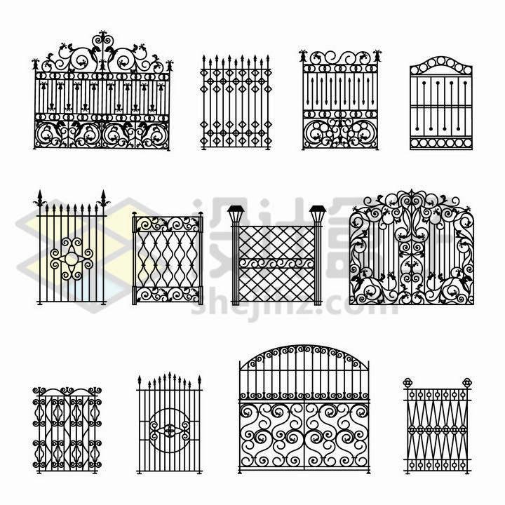 12款黑色线条复古花纹的铁栅栏大门图案png图片免抠矢量素材