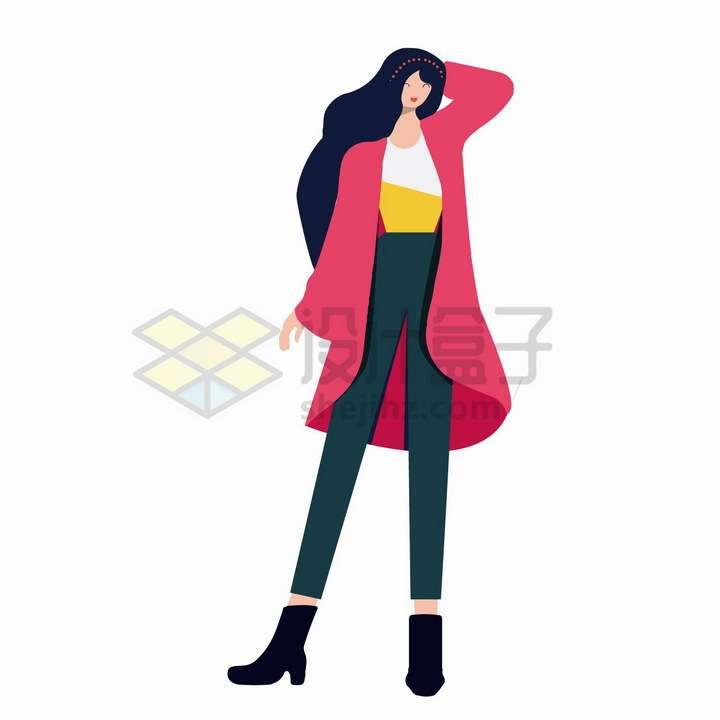 扁平插画风格撩头发的红色大衣美女png图片免抠矢量素材