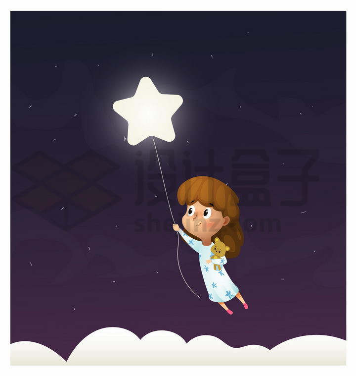 卡通小女孩牵着发光的五角星飞到了天空中png图片免抠矢量素材