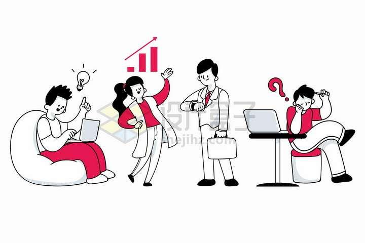 用笔记本电脑看手表打电话讨论数据的商务人士手绘插画png图片免抠矢量素材