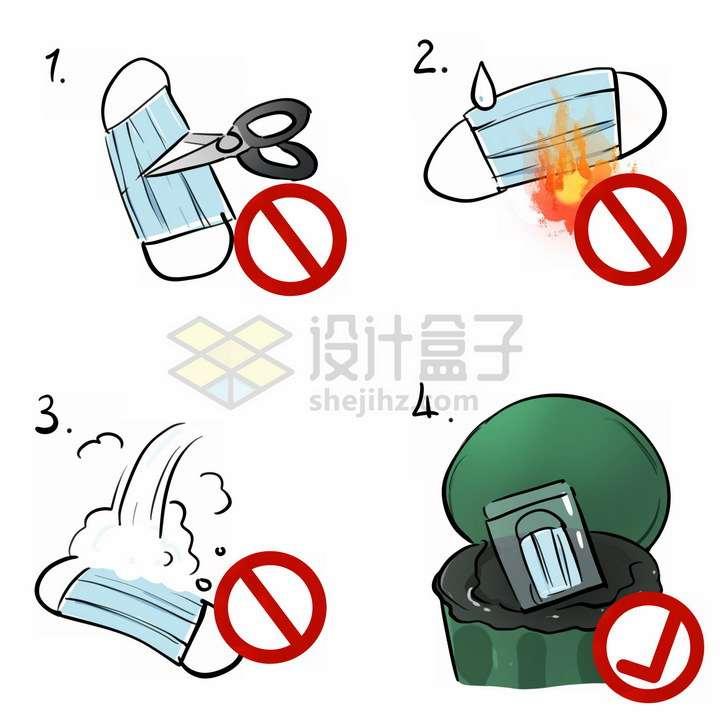 一次性医用口罩的正确处理方法武汉疫情新冠肺炎手抄报png图片免抠素材