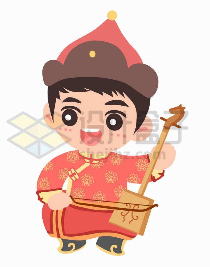 卡通拉马头琴的蒙古族少年传统服饰少数民族png图片免抠素材