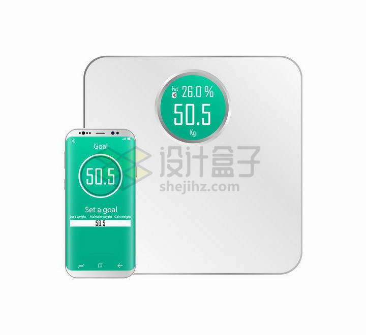 与智能手机相连的体重秤电子秤png图片免抠矢量素材