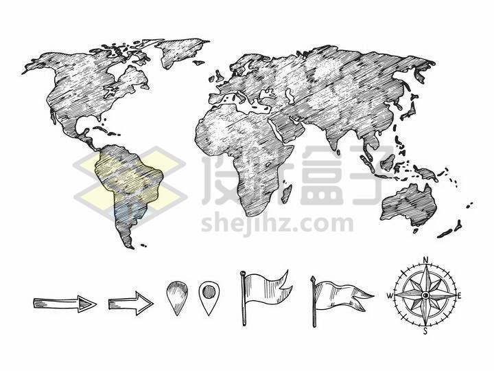 铅笔涂鸦风格世界地图png图片免抠矢量素材