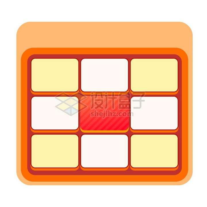 黄色红色微信电商九宫格翻拍抽奖界面png图片免抠矢量素材