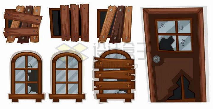 各种卡通风格破碎的大门和窗户png图片免抠矢量素材