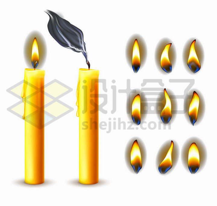 黄色的蜡烛和各种各样的火焰火苗效果png图片免抠矢量素材