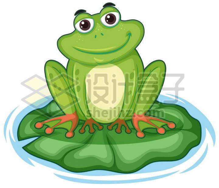 绿色卡通青蛙蹲在荷叶上png图片免抠矢量素材