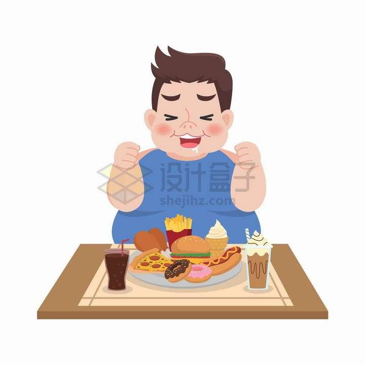 面对快餐垂涎欲滴的小胖子减肥插画png图片免抠矢量素材