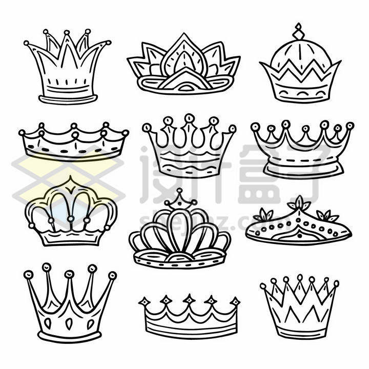 12款皇冠黑色线条素描简笔画png图片免抠矢量素材