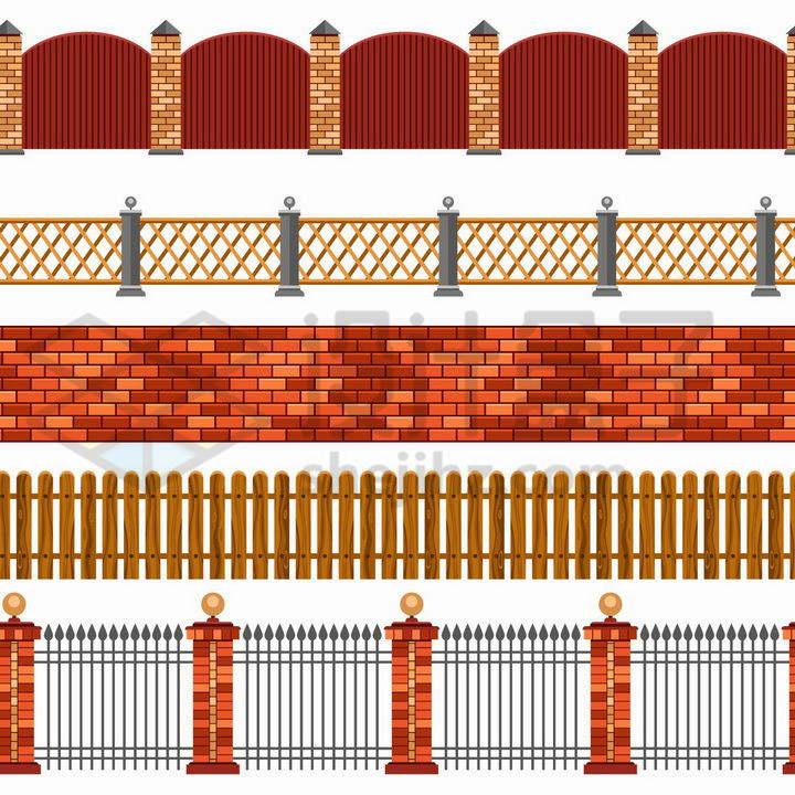 红色的砖墙木栅栏铁栅栏围墙等png图片免抠矢量素材