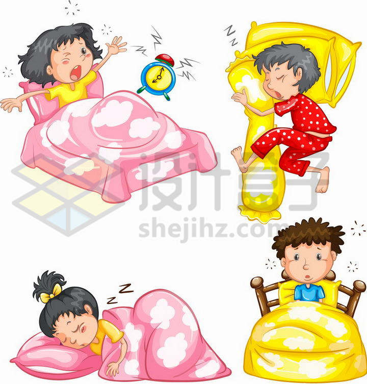 4款卡通男孩女孩的奇葩睡姿和被闹钟吵醒的懵逼状态png图片免抠矢量素材